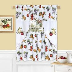 Kitchen Curtain Sets, Kitchen Curtains, Stainless Steel Hood, Curtain Rods, Colorful Fruit, Simple Elegance, Drapes Curtains, Drapery