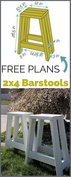 Build a simple barstool using only 2x4s. Step by step tutorial with printable plans! #woodworkingplans #woodworkingbench