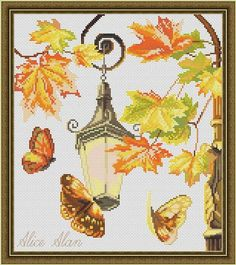 Cross Stitch Pattern Butterflies autumn and Street lamp (romantic design) designed by me, so you have a unique opportunity to get an exclusive