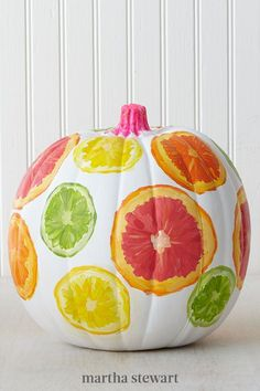 If you're nostalgic for summer, craft a pumpkin that's anything but autumnal. These slices of citrus were painted freehand, but you could use a stencil as well. #marthastewart #pumpkins #diypumpkins #falldecor #halloween Halloween Pumpkins, Fall Halloween, Halloween Crafts, Happy Halloween, Halloween Decorations, Halloween Party, Diy Crafts For Girls, Summer Crafts, Fall Crafts