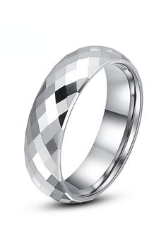 This exquisite line of cobalt-free faceted ring band is made from high grade Tungsten Carbide with superior nickel binder alloy. The simple yet beautiful band is evident in its 288 diamond shaped facets and lustrous fine polished finish. This faceted ring can be worn as a Wedding Band or Promise Ring by men or women. This style is available in 2mm, 4mm and 6mm widths, matching it perfect for couples who want a matching pair!