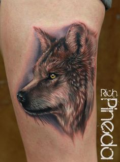 A beautiful wolf tattoo by Rich Pineda. I love wolves -- there's just something about them...