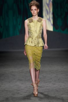 Chartreuse Indian brocade corseted sleeveless peplum top with gold jeweled epaulettes over chartreuse chantilly hand-pieced lace sheath dress | Photography: Dan Lecca