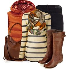 Adore this color combination. Not sure about the puffy vest but love the pop of that color with the other neutrals.