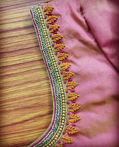 By Seheri designs Cutwork Blouse Designs, Kids Blouse Designs, Wedding Saree Blouse Designs, Simple Blouse Designs, Stylish Blouse Design, Blouse Neck Designs, Hand Designs, Wedding Sarees, Simple Embroidery Designs