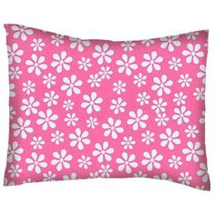 SheetWorld Twin Pillow Case - Percale Pillow Case - Primary Pink Floral Woven