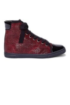 Lanvin Red Scaled Basketball Sneakers....