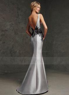 Trumpet/Mermaid Floor-Length Appliques Lace Satin Zipper Up Regular Straps Sleeveless No Silver Spring Summer Fall Evening Dress