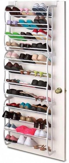 Over-the-Door Shoe Rack for organization and small spaces Hanging Shoe Rack, Hanging Shoes, Diy Shoe Rack, Shoe Racks, Hanging Closet, Shoe Rack On Door, Foyers, Nintendo Console, Laundry Room Storage
