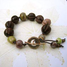 Beaded bracelet, wood, ceramic and glass bead bracelet, earthtones bracelet