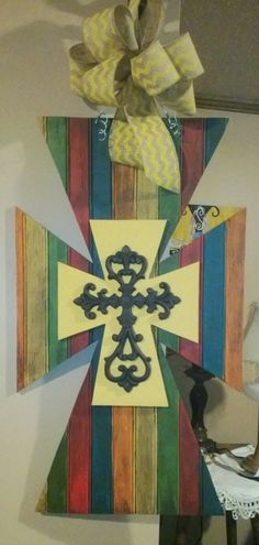 SALE 25 off Painted wooden layered cross by prettiesbyme on Etsy, $48.75