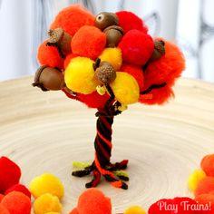 Fall Pom Pom and Acorn Tree -- Fine Motor Activity from Play Trains