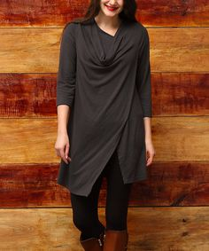 Reborn Collection Charcoal Cowl Open Hem Tunic - Plus   zulily
