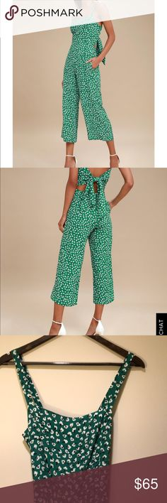2a6ce28959ff Faithful the Brand Playa Jumpsuit Playa Green floral print tie-back  jumpsuit. Lightly worn