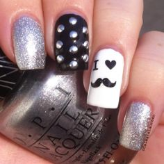 Mustache nails Cute Nail Art, Nail Art Diy, Cute Nails, Pretty Nails, My Nails, Manicure, Mani Pedi, Mustache Nail Art, Beauty Games