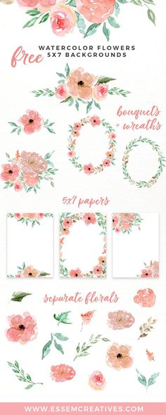 Included in this pack are separate watercolor flowers clipart, floral wreaths and bouquets and also 5x7 inches bordered papers perfect for quick designs