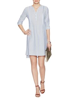 Cotton Stripe Pintuck Shirtdress from Throw-on-and-Go Dresses on Gilt