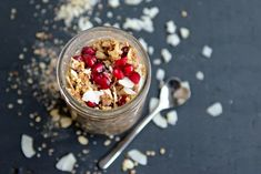 Pomegranate and Coconut Overnight Oats