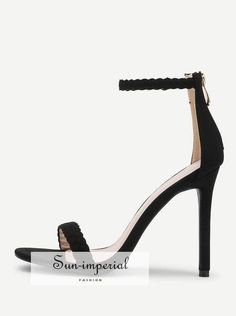 a53ea37a448 Woven Strap Peep Toe Suede Sandals