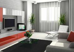 wohnzimmer modern einrichten tv wohnwand fenster sichtschutz vorhänge grau durchsichtig