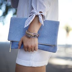 Accessorize your look with our favorite embossed Italian leather foldover periwinkle blue clutch | Banana Republic