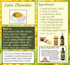 e0fb7668f7fb4 Healthy Recipe Books, Healthy Recipes, Braggs Apple Cider Vinegar, Corn  Chowder, Vegetarian