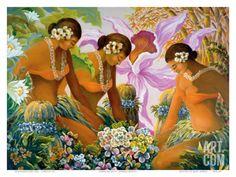 Hawaiian Hula, Women with Tropical Flowers Art Print by Warren Rapozo.