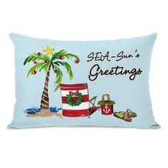 One Bella Casa Seasun's Greetings - Blue Multi 14x20 Throw Pillow by Timree (14x20 Throw Pillow) (Polyester, Graphic Print)