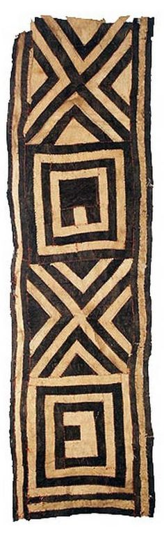 Africa | Kuba barkcloth. DR Congo | These special wraps were worn outside, or on top of, the long dance dresses for added decoration and prestige. The central area is barkcloth, made by beating a layer from just under the tree bark until it is thin and pliable