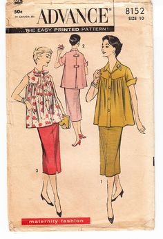 Vintage 1956 Advance 8152 Sewing Pattern by SewUniqueClassique - remember mom sewing this style when expecting.