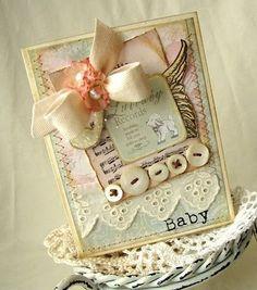 vintage baby card   me encanta la combinación de colores y el blog  de esta chica!