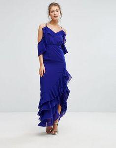 True Decadence Cold Shoulder Maxi Dress with Frilled Hem and Split