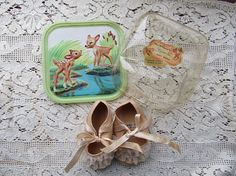 Vintage 1950's Disney Bambi Baby Infant Shoes Original
