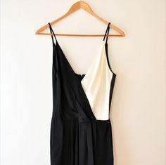Vintage '70s black & white colorblock jumpsuit