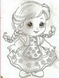 Girl coloring page Art Drawings Sketches, Easy Drawings, Coloring Book Pages, Coloring Sheets, Precious Moments Coloring Pages, Drawing For Kids, Coloring Pages For Kids, Fabric Painting, Cute Cartoon