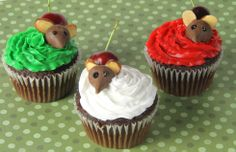 Cherry Mouse Cupcakes - instead of cherry, could use a Whopper or other round candy; have to add something for a tail (could just draw it on to the ball with edible ink).