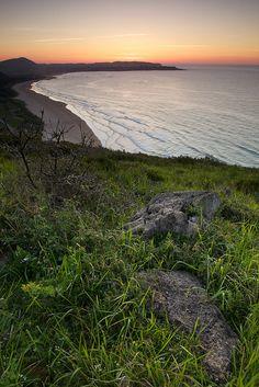 Sunset from headland above Noja beach. Cantabria, Spain. Camino de Santiago (Camino del Norte).