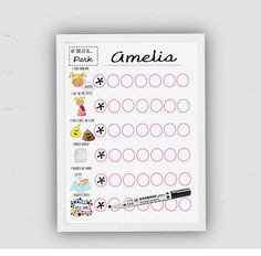 This is a fully personalised potty training reward chart. It is bright and colourful encouraging your child to respond really well to using the potty! Simply print the file on good quality card or glossy card using the highest quality settings on your printer. Or take the file to your local printers. Then put it into an 8 x 10 frame and use a dry wipe pen or stickers to track you childs potty training. How does this work? A daily potty training chart..... This visual aid teaches your child…