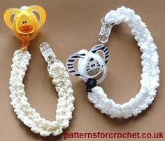 Free crochet pattern for binky/pacifer holder. Be sure not to make it too long, you don't want the baby to get hurt.