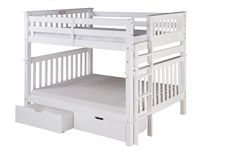 Santa Fe Mission Tall Bunk Bed Full Over Full   Bed End Ladder   White  Finish