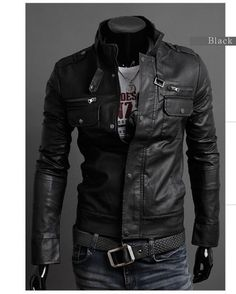Handmade Men leather Jacket, Men biker leather Jacket Black and Brown on Etsy, $139.00