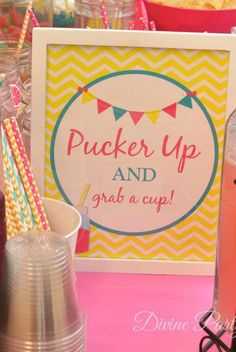 "Pink lemonade party / shower ideas ""pucker up and grab a cup"" Birthday Party Drinks, Birthday Fun, First Birthday Parties, First Birthdays, Birthday Ideas, Summer Birthday, Pink Lemonade Party, Pink Lemonade Baby Shower Ideas, Pure Romance Party"