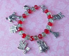 Christmas Red and Green Crystal Rondelle Charm Bracelet #handmade #jewelry @simplysweethome