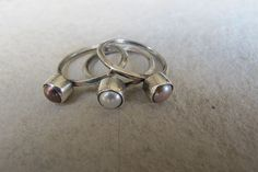 Pearl Stacking Rings Set Of 3 Sterling Silver by kayratastaki, $50.00