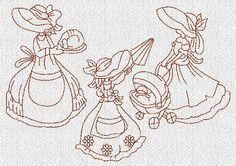 INSTANT DOWNLOAD Sunbonnet Southern Belles por embroiderygirl