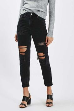 Topshop MOTO Washed Black Super Rip Mom Jeans