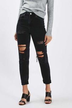 Topshop MOTO Washed Black Super Rip Mom Jeans