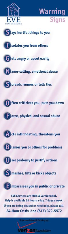 Warning Signs of Abuse - Bookmark created by Jillian Pastoor, Community Relations Coordinator at EVE and sponsored by the Verizon Foundation.