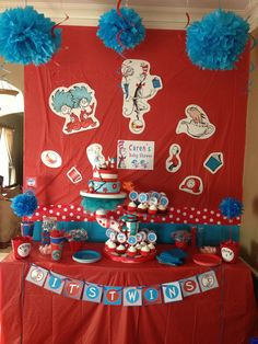 """Thing 1 thing 2 baby shower cake and cupcakes by """"Shenna's   sweets"""""""