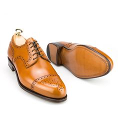 Carmina Men's 730 Forest Derby with a brogue cap toe in tanned calf